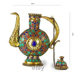 15 OFF, Bedside Carafe Water Carafe Wine Carafe ,Vintage Brass Antique Carafe for Serving Water Tea (pot), showpiece home decor