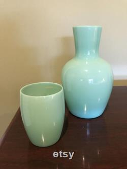 1930 S Morgantown Jadeite Tumble-UP Trudy Water Carafe With Cup