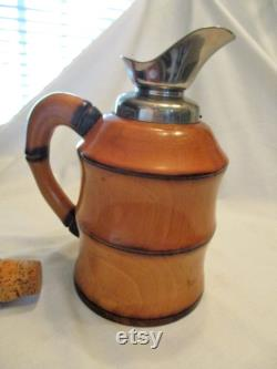 1950 s Aldo Tura Macabo Cusano Bamboo Metal Glass Thermal Carafe Cork Italy VTG