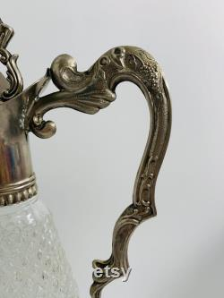 1960 s Italian Leonard Silver Plated and Cut Crystal Decanter