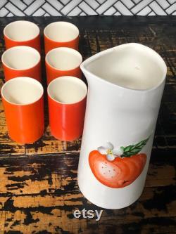 1960s Designer Juice Service Set, Holt Howard Ceramics 1962, Ceramic Carafe Japan, 6 Cups