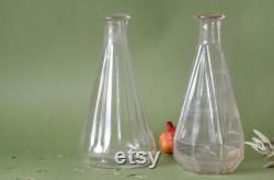 2 Retro Glass Decanters, Vintage Glass Jugs, 1930s French Bistro, Art Deco, Pressed Glass, Bar Decor, Country Kitchen, Boho Wedding Decor