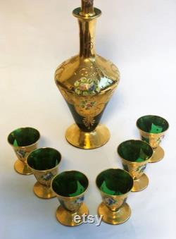 24 KT Gold Painted Murano Green Glass Decanter and Six Chalices midcentury