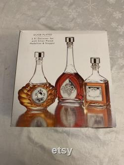 25 OFF Rare 1970s Vintage Studio Silversmiths Set of Decanters with Silver Plated Stoppers and Raised Medallion Grapes