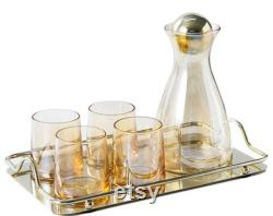 6 Piece Clear Amber Gold Glass Drinkware Set