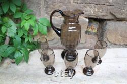 6 pcs. Set Carafe Glass Jug Wine Glasses Smoked Glass 30s Art Deco