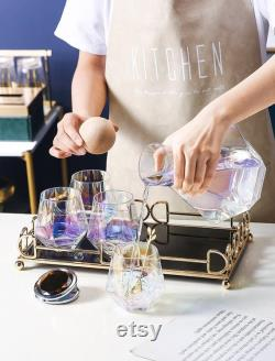 6pcs of Rainbow glass carafe set with a tray and wood lid, Decanter pitcher, Wine, Whiskey, Beer, Geometric, Juice set European
