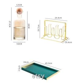 9pcs of Amber glass carafe set with a tray and wood lid, Decanter pitcher, Wine, Whiskey, Beer, Geometric, Juice set European