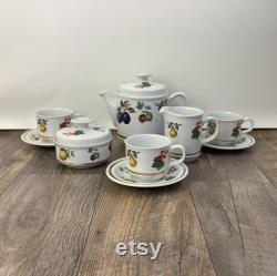 Alfred Meakin Glo White Coffee Set Coffee Pot Cream Sugar Fruit Motif Tea Set