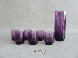 Amethyst Glass Carafe with Glasses, Purple Glassware
