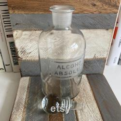 Antique Alcohol Absolute Apothecary Clear Glass Bottle Decanter with Sphere Stopper