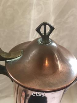 Antique Art Nouveau Copper and Brass Claret Jug marked 1900s