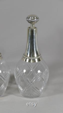 Antique French Napoleon III 20th Pair Of Carafes In Cut Crystal And Sterling Silver by Goldsmith Gaston Bardiès, Circa 1900