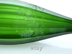 Antique Moser Bohemian Wine Carafe Green Intaglio Cut Grapes and Fruit