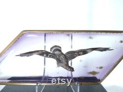 Antique Moser Raised Enamel Tray with Bird of Prey
