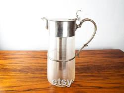 Antique Victorian Silver Plated Jug Ribbed Glass Lemonade Iced Tea Pimms England, Unique Carafe Wine Pitcher, One of a KInd Table Decoration