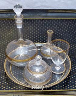 BACCARAT- ANTIQUE Set NIGHT Service 19TH French Blowned Crystal Gilded 5 pieces