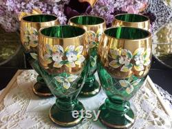 Beautiful Moser Murano tumblers wine glasses emerald green gold gilded raised enamel flowers