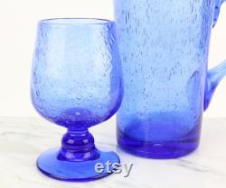 Blue vintage glass carafe with 4 glasses by BIOT France handmade handblown water carafe bubble glass French glass art