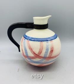 Calico Pink Blue Plaid Carafe From Vernon Kilns Metlox Pottery
