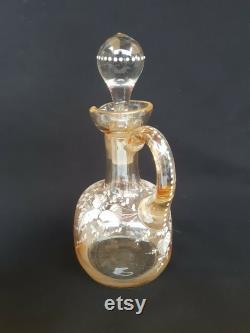 Carafe A Color Crystal Liqueur, Emailed, Art Nouveau Period