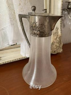 Carafe. Decant. Pitcher. Silver metal frame glass. Rare. Vintage French.