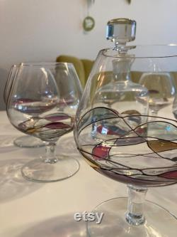 Carafe and 8 cognac glasses Tiffany design, hand-blown, unique, handmade, colorful gold-plated