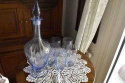 Carafe and six glassses, antique set of light blue glass decanter and glasses, 1940's, vintage home decor. France.