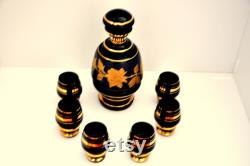 Carafe set, hand painted glass, housewarming gift, Home Decor