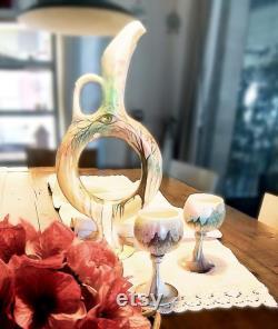 Ceramic Wine Carafe, Wine Carafe Set, Wine Set Ceramic, Handmade Ceramic Carafe, Ceramic Goblets, Wine Decanter, Carafe Set, Pottery Goblets