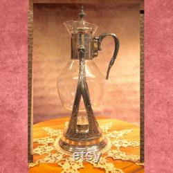 Coffee Carafe Warmer and Server, Rare, Vintage, Gorham Newport, Silverplated, 1950s, Candle Stand, 14.5 B52-6-29
