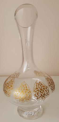 Cold Gold Plated Carved Glass Carafe designed by Secel Özsoy, Home gift, Handmade Decorative Collectibles