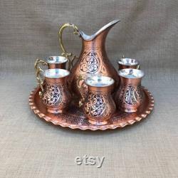 Copper Jug Set, Copper Drinking Glasses, Copper Serving Tray, Tumbled Copper Jug set, Handmade Copper Jug, Kitchen Decor, Christmas Gift,