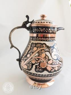 Copper Water Bottle, carafe,bedside carafe,wine carafe, juice carafe,Lidded jug,milk jug,gallon jug,vintage jug vase