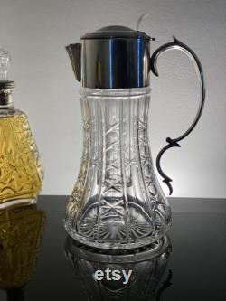 Crystal Pitcher with lid for wine or water or claret Crystal and silverplate decanter Crystal carafe with insert for ice