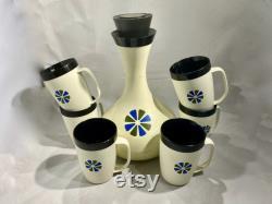 David Douglas Therm Ware Carafe Set, MCM Atomic Carafe and Mugs, David Douglas Thermware Insulated Carafe and Mug Set
