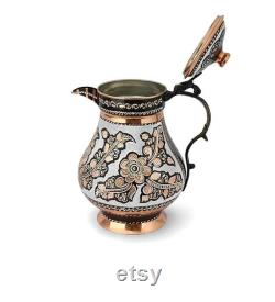 Decorative Handcrafted Copper Lid Jug, Turkish Copper Carafe,Engraved Solid Unlined Copper Water Moscow Mule Pitcher Jug Vessel with Lid