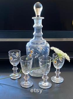 Delightful 19th century handblown carafe with four cordial glass, French, handpainted, daisy, vintage glass, bottle, old glass, decanter