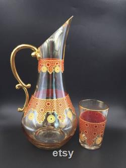 Embroidery Pattern Carafe, Cocktail Glasses, Barware Set, Glass Carafe and Cup, Juice Carafe, Handmade Decanter Set, Water Pitcher