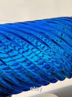 Empoli Genie Bottle Italian Art Glass Swirl Pattern in Blue