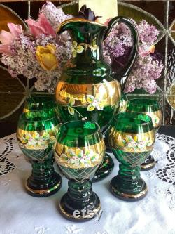 Exceptional Moser Murano glass emerald green gold gilded raised enamel flowers pitcher wine or water