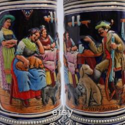 Extra Large German Stein, German Drinking Pitcher, Vintage German Stein, Ceramic Bavarian Stein, Drinking Scene, Family Scene, Glazed