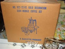 Fantastic MCM Gailstyn It's A Dilly Carafe Set with Wheel Cart and Creamer and Sugar 22k Gold Overlay Original Box Unused FREE SHIPPING