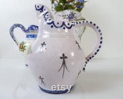 French Faience Jugs Collection Of Vintage French Pottery Quimper Ceramics