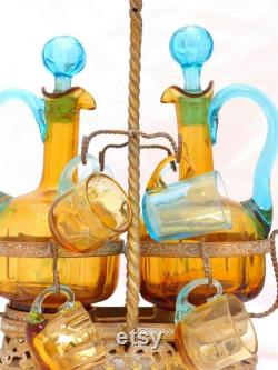 French Rare Brass cave box blue LEGRAS Decanter Liquor Tantalus glass set 1880