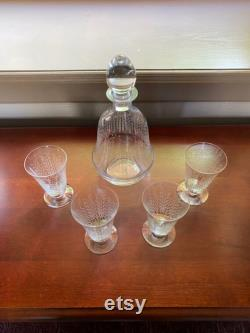 French Vintage Crystal Decanter and 4 Glasses