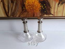 French vintage pewter and faceted glass wine carafe with Modernist styling, circa Mid Century.