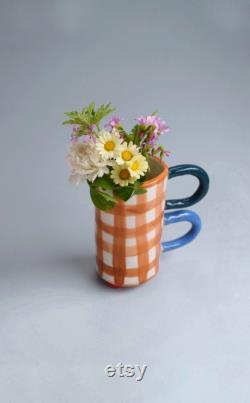 Gingham Ceramic Carafe