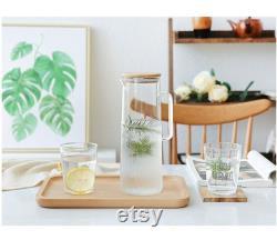 Glass Carafe Bedside Tabletop Water Carafe Handmade Glass Pitcher Tea Juice Pitcher Clear Fridge Water Pitcher