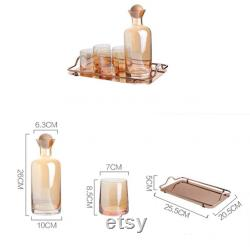 Glass Carafe, Glasses, and Serving Tray